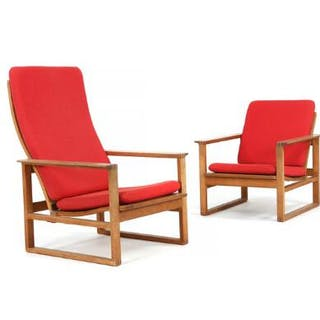 Børge Mogensen: Two easy chairs with oak frame