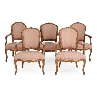 A set of five French beech Rococo armchairs. Partly signed. 18th century. (5)