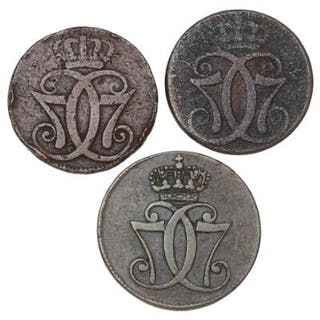 Christian VII, skilling 1771, H 37, FP 2.1, 2.5, 3 pcs. different