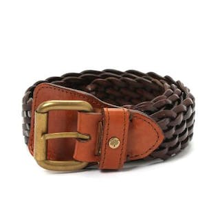 Mulberry: A belt of braided brown leather with bronze coloured buckle