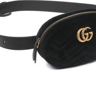 "Gucci: A ""Marmont"" belt bag of black velvet with signature GG logo"