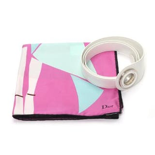 Christian Dior: A pink and green silk scarf and a white...