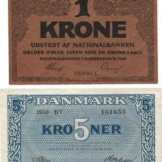 5 kr 1950 DV, Sieg 119, Pick 35 UNC and 6 pcs. 1 kr. (7)