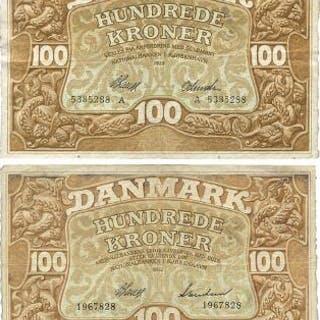 100 kr 1928 A, 1932, Sieg 109f., Pick 23, 28. (2)