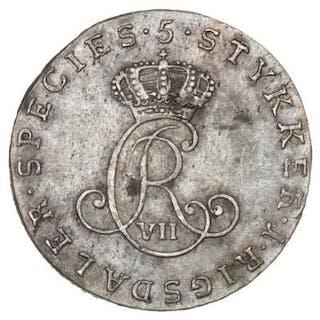 Norway, Christian VII, 1/5 speciedaler 1798, NMD 40, H 7B