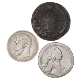 Russia, Rouble 1762 MMA, 1898, KM C67, Y59 and 5 Kopek 1772 EM. (3)