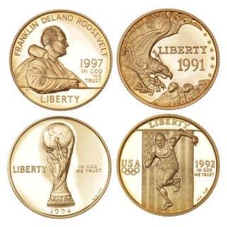USA, 5 Dollars 1991, 1992, 1994, 1997, KM 230, 235, 248, 282. (4)