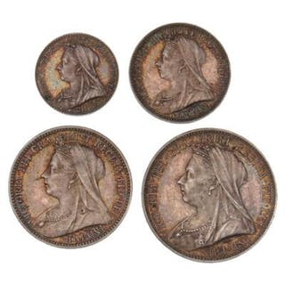 England, Victoria, Maundy Set, 4, 3, 2 and 1 penny 1901. (4)