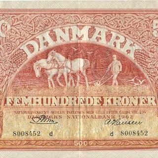 500 kr 1962 d, No. 8008452, Riim / A. Hansen, Sieg 127, Pick 41