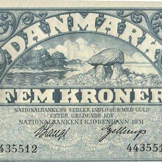 5 kr 1931 A, No.. 4435512, V. Lange / Gellerup, Sieg 101, Pick 25