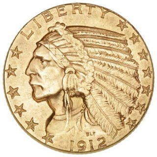 "USA, 5 Dollars 1912, ""Indian Head type"", F 148"
