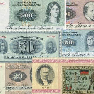 Small lot banknotes from Denmark and Faroe Islands