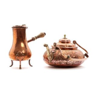 A French pear shaped Rococo copper coffee pot and a Dutch tea kettle