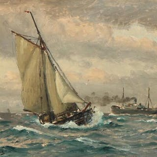 Christian Blache: Seascape with sailing ships and a steamer