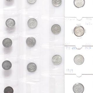 Collection of 25 øre coins prior to 1922