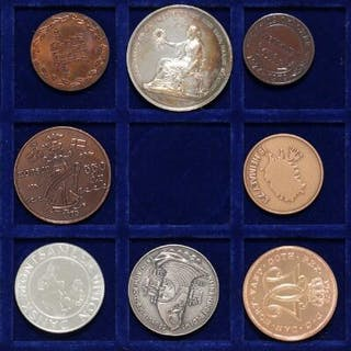 3 boxes and 2 trays with larger collection of coins from...