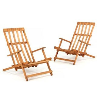 Børge Mogensen: A pair of beech deck chairs. Manufactured by Søborg Møbler. (2)