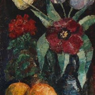 Harald Engman: Still life with flowers and fruits