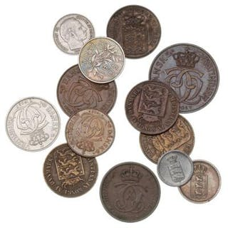 Danish West Indies, small lot coins from 1845 to 1905, in total 13 pcs