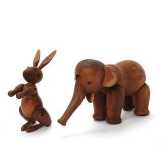 Kay Bojesen: Two patinated oak toy figures in the shape...