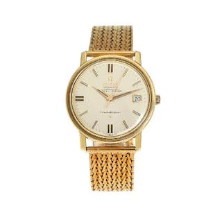 Omega: A gentleman's wristwatch of gold plated metal