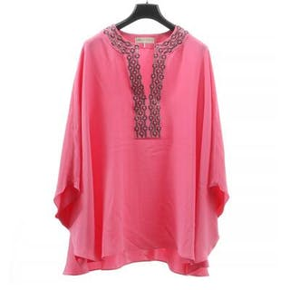 Emilio Pucci: A blouse of pink silk with sequinses and beads around the neck