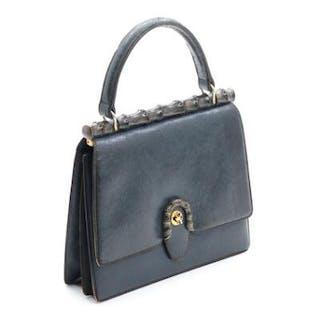 Gucci: A blue leather and wood handbag