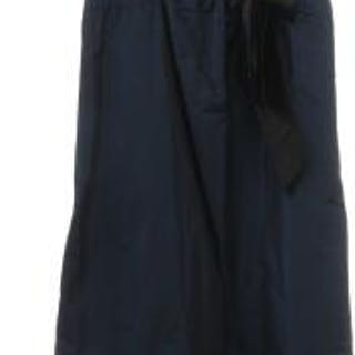 Max Mara: A dark blue dress with a black silk tie and concealed zip in the side