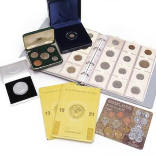 Box and album with various newer Danish and foreign coins