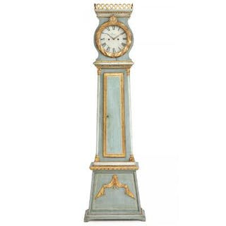 A painted and partially gilt Danish longcase clock
