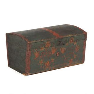 A red and green painted country style woooden chest