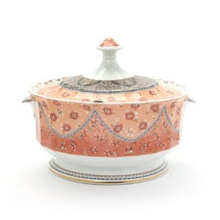Fairy-Tale circular porcelain tureen with handles...