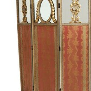 A circa 1900 gilded and painted wood three-winged Louis XVI style