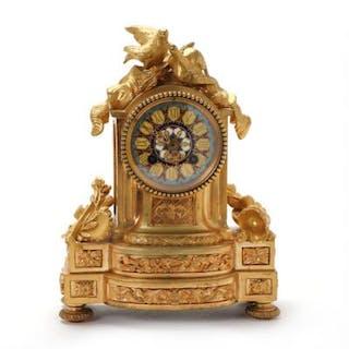 A French Louis XVI gilt bronze mantel clock