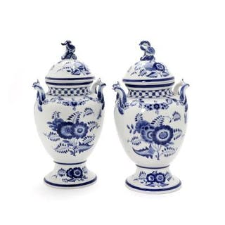 """""""Blue Fluted"""" a pair of porcelain covered vases"""