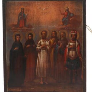 A Russian icon depicting Christ and The Mother of God above saints