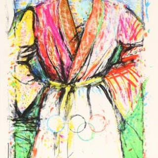 """Jim Dine: """"Olympic Robe"""". Signed Dine 88, 16/300. Lithograph in colours."""