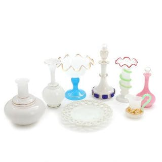 A selection of 19th century French opaline glass