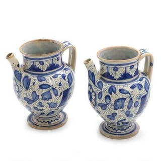 Two 18th century Italian faience wet jugs