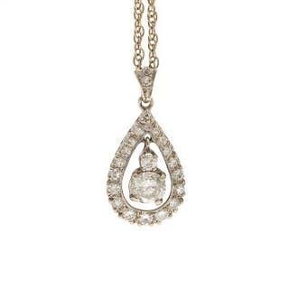 A diamond pendant set with a brilliant-cut diamond weighing app