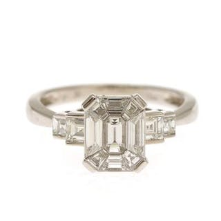 A diamond ring set with one fancy-cut