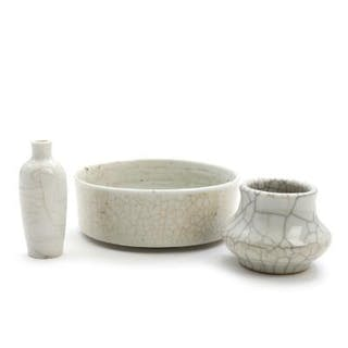 Chinese Ge-type porcelain brush washer and two miniature...