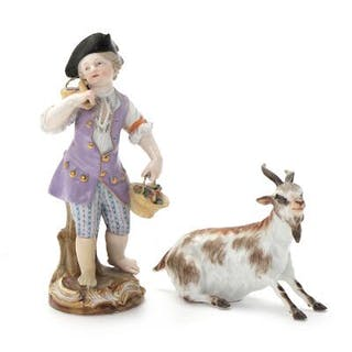 Two porcelain Meissen figurines decorated in colours and...
