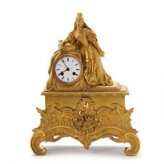A French Louis Philippe gilt bronze figural mantel clock