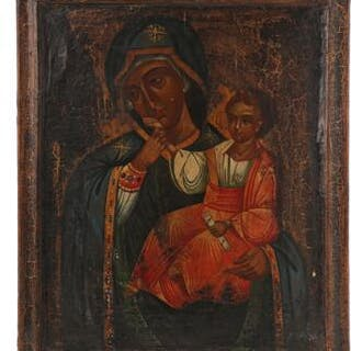 A large Baltic icon depicting The Mother of God with the Child
