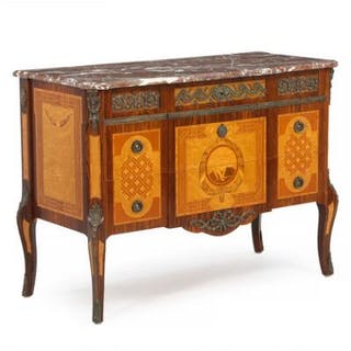 A Swedish rosewood and fruitwood commode with inlays