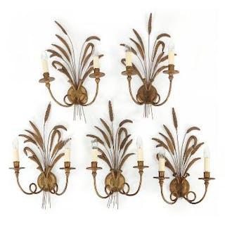 A set of five Italian gilt-metal and gilt-gesso bracket...