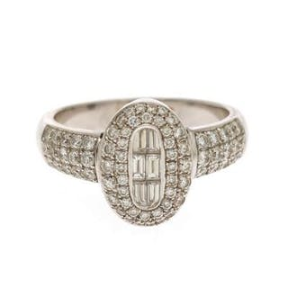 A diamond ring set with six baguette-cut diamonds and...