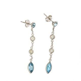 A apir of topaz and diamond ear pendants each set with a...