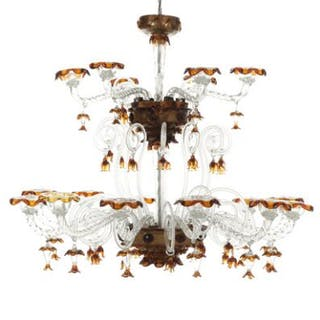 A Venetian 20th century clear and amber coloured glass 18-light chandelier